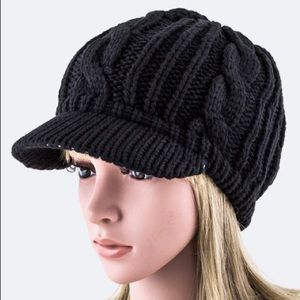 Black winter beanie hat